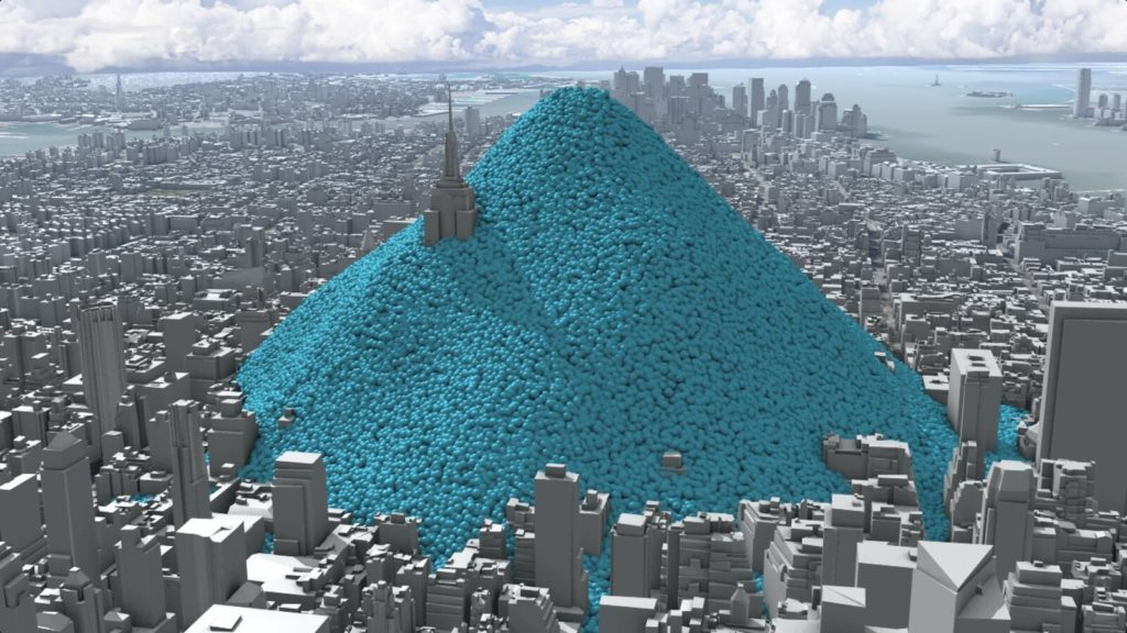 Carbon Visuals. New York City's carbon dioxide emissions as one-tonne spheres.