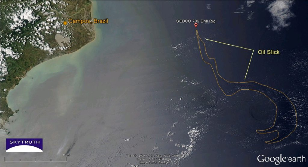MODIS/Aqua satellite image shows growing oil slick in the deepwater Campos Basin off Brazil. Image taken around midday on November 12, 2011.