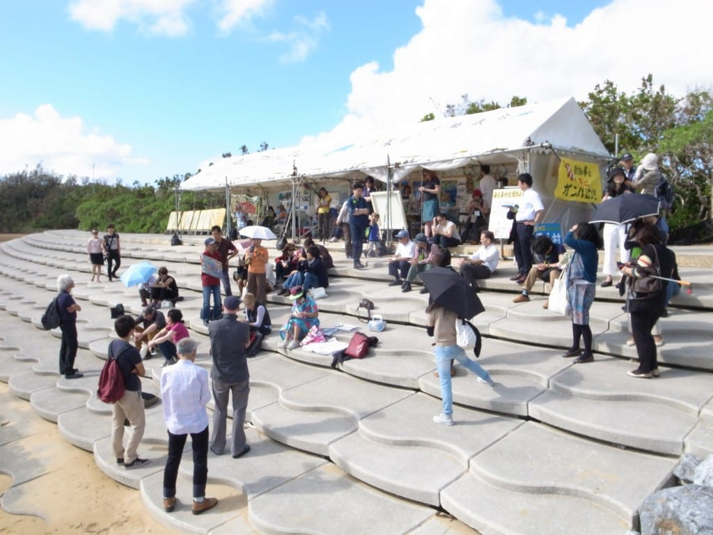 Conference attendees meet with local activists protesting new U.S. military base in Henoko
