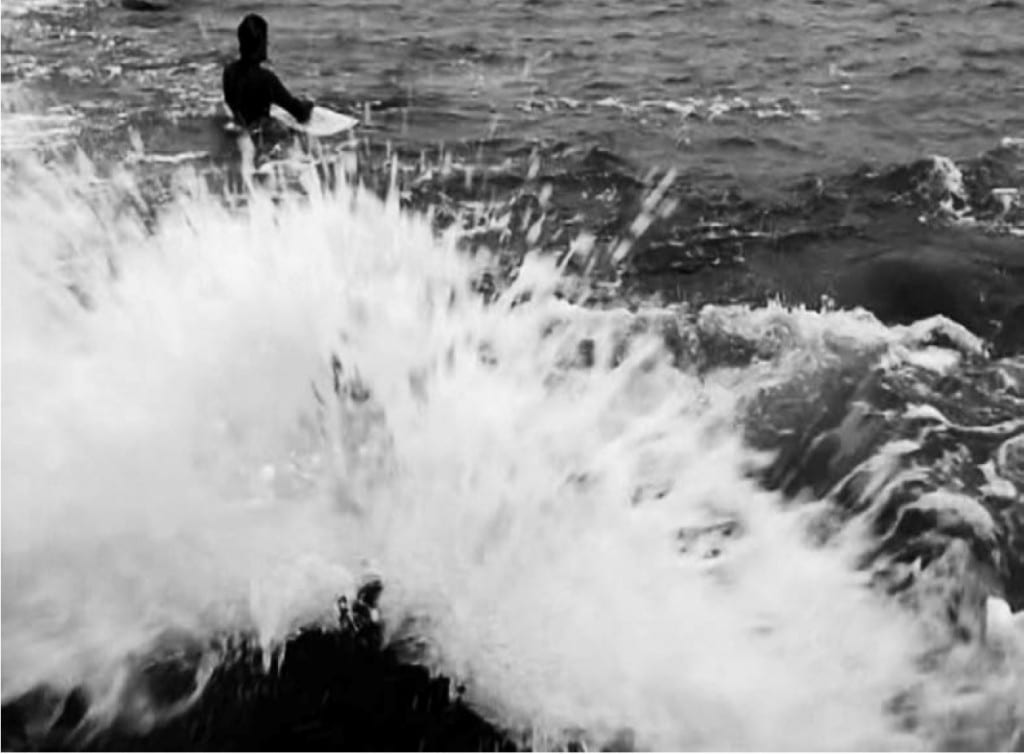 Peter Matthews Film Still Documenting the Artist Submerged in the Atlantic Ocean, England, During a Winter Storm in 2010