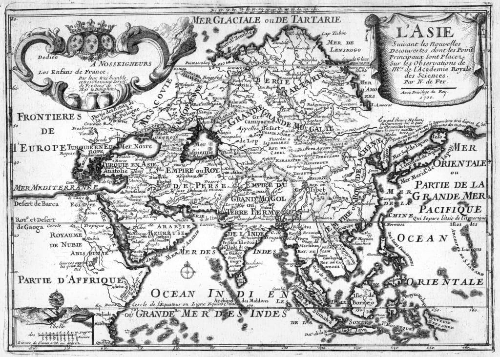 Asia 1700. Nicolas de Fer. L'Asie: Suivant Les Nouvelles Decouvertes Dont Les Point Principaux Sont Placez Sur Les Observations de Mrs. de L'Academie Royale des Sciences. Paris: Danet, 170. Courtesy of Amherst College Archives and Special Collections.