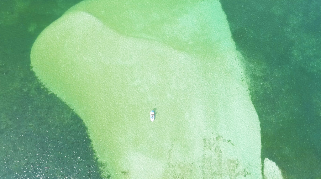 Aerial view of bright green ocean with a tiny boat floating across it.