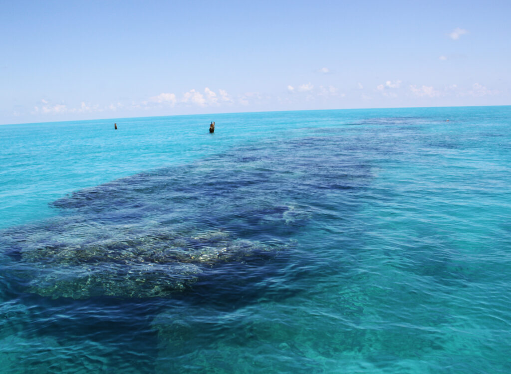 The shadow of a wreck beneath bright blue-green water.