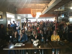 A photo from the stage of the crowd at the Sacramento poetry reading.