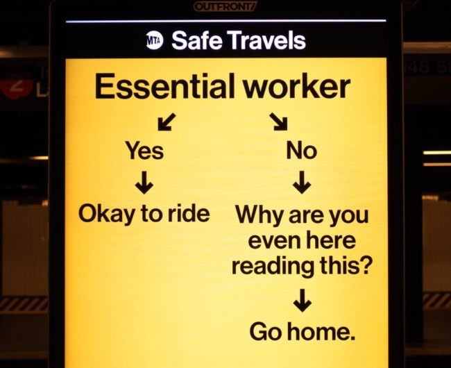 """Flowchart to determine if you're an essential worker. If yes, okay to ride; if no, it asks """"Why are you even here reading this?"""" and then says, """"Go home."""""""