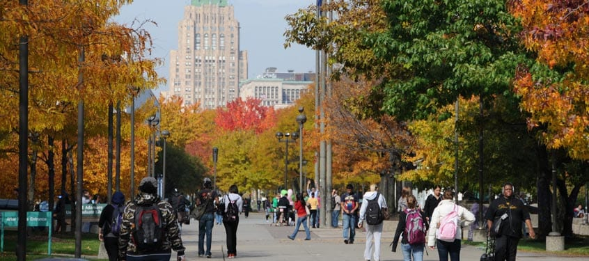 Wayne State campus-in-fall