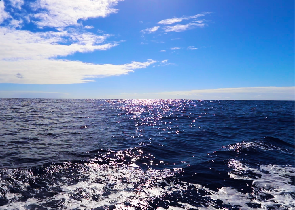 Dark blue Pacific ocean with some waves in the foreground. Bright blue sky with thin clouds.